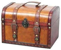 leather storage trunk decorative wood treasure box small chest trunks faux with lid decorat