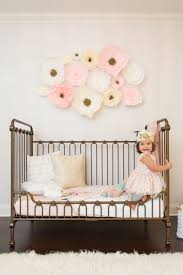 crepe paper three dimensional flower wall decals in girl s toddler room