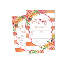 Do It Yourself Baby Shower Invitation Templates 50 Fill In Cute Baby Shower Invitations Baby Shower Invitations Floral Pink And Gold Neutral Blank Baby Shower Invites For Girl Baby Invitation