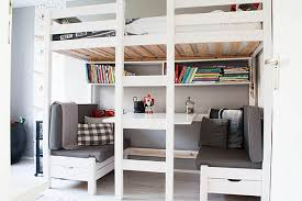 ... white bunk bed with desk ...