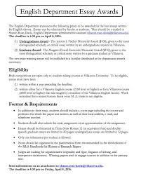 villanova english  english department essay awards reminder