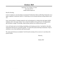 Cover Letter For General Laborer Professional Resume Templates
