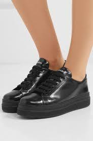 prada womens glossed leather platform sneakers black
