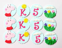 Peppa Pig Cupcake Toppers 12pcs Edible Fondant Birthday Party Favors