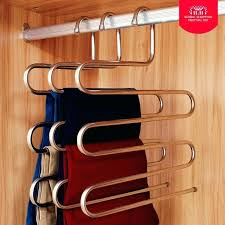 wall mounted trouser rack stainless steel s shape closet pant trousers rack magic trousers hanger multi