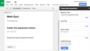 create math expressions in google forms