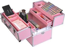 facebox fashion makeup case beauty box with inner tray makeup train case cosmetic box kit pink