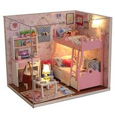 homemade doll furniture. Cuteroom Wood Dollhouse Miniature Kit DIY Doll House Room With Furniture Cover Toy Artwork Gift Homemade