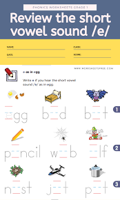 Free beginning sounds worksheets which can be turned into attractive flipbooks with little prep. Review The Short Vowel Sound E Phonics Worksheets Grade 1 Worksheets Free