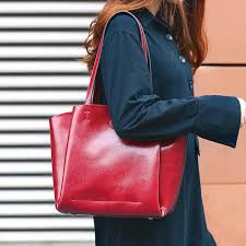 2019 new women s genuine leather tote handbag oil wax calfskin bag large capacity shoulder bags