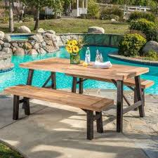 boracay teak finish brushed grey 3 piece wood outdoor dining set
