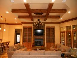 Best Wooden Pillars with Lighting Ceiling Designs Over Gray Fabric Living  Room Couch and Built in