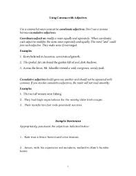Answers To Worksheet For Using Commas With Adjectives