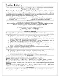 Cosy Sample Resume Research Scientist In Picture Researcher Sample Resume
