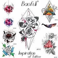 3128 руб 5 скидкаbaofuli акварель кровь роза временная татуировка цветок боди арт