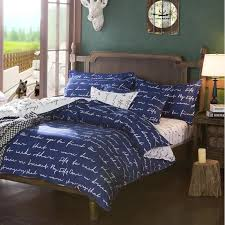 luxury royal blue twin full queen size bed sheets elegant bedding with white words print quilt covers for home in bedding sets from home garden on
