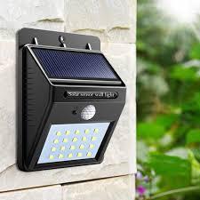 sensor wall light 20 led outdoor waterproof rechargeable solar power pir motion garden lamp