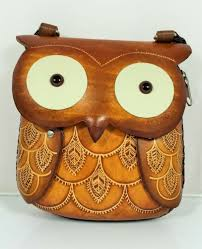 genuine leather owl purse shoulder purse pouch handbag hand tooled
