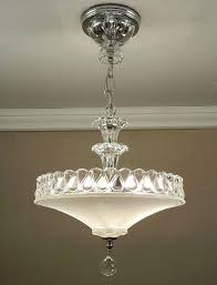 1940s light fixtures antique vintage art white pressed glass chrome ceiling light fixture chandelier rewired 1940s