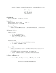 Formal Resume Template Stunning Sample Resume High School Student No Job Experience For Students