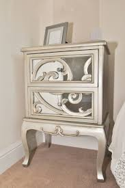 Bedroom: Twin Mirrored Bedside Table With Three Drawers - Mirrored Bedside  Table Laura Ashley