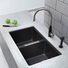 Franke Granite Kitchen Sinks Kraus Kgu434b 33 Inch Undermount Double Bowl Granite Kitchen Sink