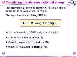 20 calculating gravitational potential energy