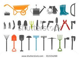 garden items. Set Of Various Gardening Items. Tools. Pictogram Icon Items For Garden S