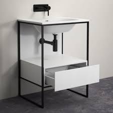 steel bathroom vanity. LUSSO STONE LUXE 600 MATTE BLACK STEEL FRAMED BATHROOM VANITY UNIT Steel Bathroom Vanity A