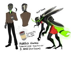 adze vampire. adze are vampiric fireflies in togo folklore. when caught the act they transform into grotesque humanlike with jet black skin and big claws, vampire