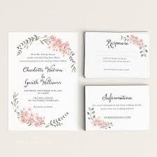 Response Cards Size Printable Wedding Invitation Set Watercolor Floral Garden