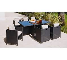 garden table and 6 chair sets. hand-woven rattan effect cube 6 seater patio set - black652/4975 garden table and chair sets c