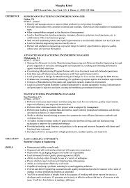 Manufacturing Engineering Manager Resume Samples Velvet Jobs