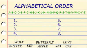Alphabetical Order Alphabetical Order