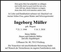 Ingeborg Müller Trauer Traueranzeigen Nachrufe Badische