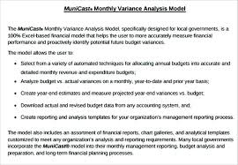 Monthly Budget Variance Analysis Template Report Format