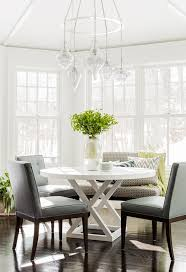 leather breakfast nook furniture. Perfect Furniture Staggered Glass Jewels Chandelier Over Round Dining Table On Leather Breakfast Nook Furniture F