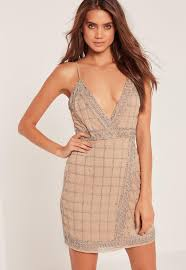 Missguided Premium Sequin Embellished Cami Wrap Dress Nude Lyst