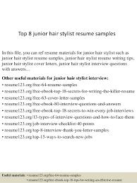 Hair Stylist Resume Mesmerizing Top 28 Junior Hair Stylist Resume Samples