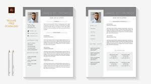 Professional Resume Free 2 Pages Template Download Illustrator Speed Art