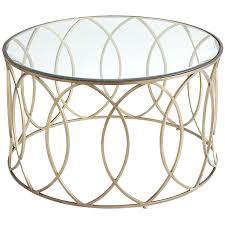coffee table bronze iron round glass gold chrome