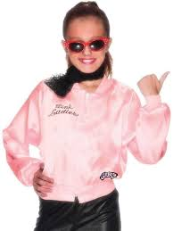 womens girls pink las jacket 1950s 50s grease