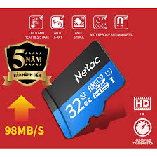 Thẻ nhớ Micro SD Netac 32GB SDHC class 10 Full HD