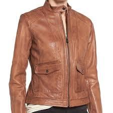 women s sheep kerwin leather jacket brown