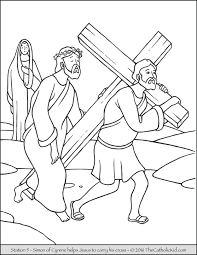Small Picture Stations of the Cross Coloring Pages 5 Simon of Cyrene helps