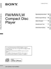 sony cdx gt560ui manuals we have 2 sony cdx gt560ui manuals available for pdf operating instructions manual installation connections