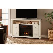 freestanding industrial media console electric fireplace tv stand in white