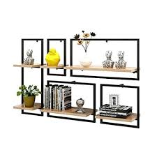 hanging shelves for wall wooden floating shelf black metal iron and wood set of 5 mount cube decoration unit frame modern style