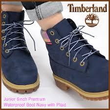 timberland timberland junior boots 6 inch premium waterproof navy with plaid timberland junior 1895a junior