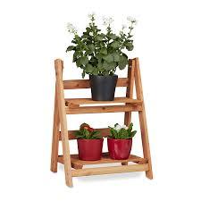 Relaxdays Blumentreppe Aus Holz Blumenständer Für Innen 2 Stufig Leiterregal Klappbar Hbt Ca 51 X 41 X 25 Cm Braun